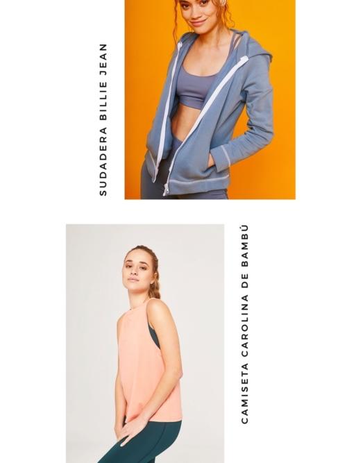 Pack Sudadera Billie Jean Azul y Camiseta Carolina Terracotta sostenibles de ActandBe
